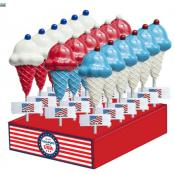 Patriotic Ice Cream Cone with Cherry Lollipops, 1.2oz