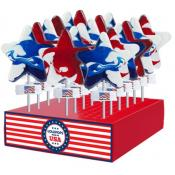 Patriotic Large Red White & Blue Swirl Stars Lollipops, 1oz